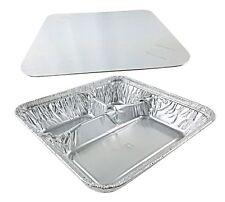 Handi-Foil Large Aluminum 3-Compartment Oblong TV Dinner Tray Pan w/Lid 25/PK