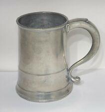 18th c Antique American Pewter Quart Tankard Mug Joseph Danforth
