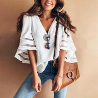 Summer Women Bell 3/4 Flare Sleeve Blouse Boho V-Neck Tops T-Shirt Solid