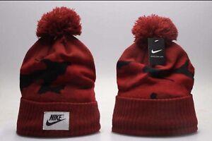 New Nike Acrylic Winter Knit Beanie Cuffed POM Adult Unisex - Red