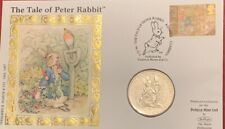1993 Gibraltar 1 One Crown Coin 100 Years Of Peter Rabbit Cover Coin With Stamp
