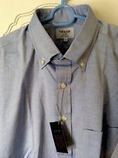 TM lewin Shirt 100 Blue Button Down MENS Summer SHIRT Shortsleeved Size XLG new