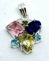 Multi Gemstone 925 Silver Plated Pendant Pink Topaz - Raw Saphire - Peridot etc