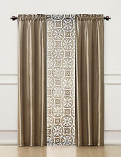 3 Piece Window Treatment Set 2 Faux Silk& 1 Printed Voile/sheer Panel  (Taupe)