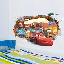 Cars 3D Broken Wall Sticker Removable Wallpaper Mural Art 3D Decal For Kid Room