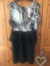 Women's Boohoo Peplum Dress Size 14 BNWT  Black , Animal Print
