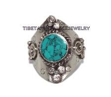 Adjustable Turquoise Ring Boho ring Nepal ring Tibetan ring Tibet Ring RB3