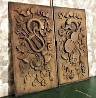 Pair 17th flower music trophy carving panel Antique french architectural salvage