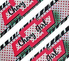"High Quality 1"" ""Chevy Girl"" Pink Printed Grosgrain Ribbon Hair Bow Cheer"