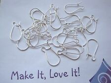 20 (10 Pairs) x 15mm SILVER PLATED KIDNEY EAR HOOK WIRES Earring Making Earwires