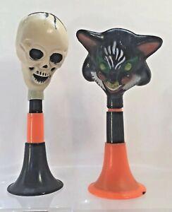 2 Vintage Halloween Party Horn Noisemaker Scary Black Cat Skeleton Rubber Fun