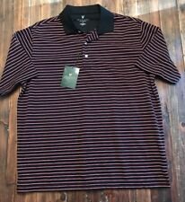 Lyle & Scott Polo Black/Red Striped NEW with tags Medium Polyester Performance