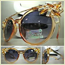 CLASSIC VINTAGE RETRO CAT EYE Style SUN GLASSES Amber & Gold Frame Huge Crystals