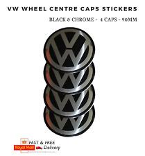 4x 90 mm VW VOLKSWAGEN ruota centro CAP Emblema Adesivo Set nero si adatta veicoli VW