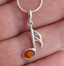 Cognac Baltic Amber 925 Sterling Silver Music Note Pendant  Jewellery
