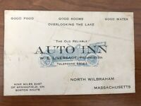 Vintage Business Card North Wilbraham Massachusetts Auto Inn Mass MA