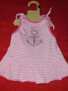 SimplyDog ♡ PINK WHITE STRIPE WITH SEQUINED ANCHOR DRESS ♡ SIZE SMALL ♡ SO CUTE