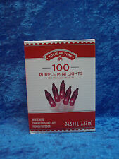 Holiday Time 100 Purple Mini Lights White Wire Christmas