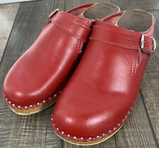 Troentorp Clogs Raphael Red Leather Sz 40 US 9-9.5 Arch Support Buckle
