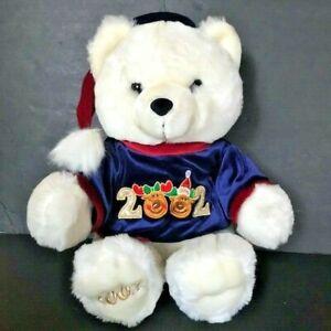 Dan Dee Christmas Teddy Bear White with Blue Reindeer Shirt 2002 Holiday Plush