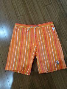 New Big Boys PSYCHO BUNNY Orange Striped Swim Trunks Size L(14-16)