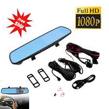 "4.3"" 1080P Dual Lens Car DVR Rearview Mirror + Camera Video Recorder Dash Cam @"