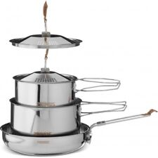 Primus Camp Fire Stainless Steel 3 Piece Cook Set - 2 x Saucepan 1 x Frying Pan