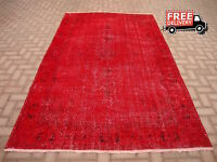 Vintage Turkish Overdyed Red Color Hand Knotted Oushak Large Area Rug 6x9 ft