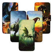 Fantasy Dragons Design Flip Phone Case Cover Wallet - Fits Iphone 5 6 7 8 X 11
