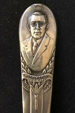 Woodrow Wilson (stem), Bust (top), World War (bowl) Silver Plated Spoon