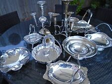 VINTAGE JOB LOT TWO SILVER PLATED EPERGNES/SEVEN BASKETS/ONE LADLE FOR A WEDDING