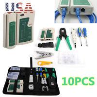 RJ45 RJ11 RJ12 Cable Hand Crimper Network Tool Kit Punch Down Impact Tool Kit US