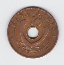 1943 East Africa 10 ten Cent Cents Coin holed K-592