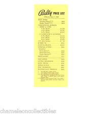 BALLY BINGO PINBALL MACHINE & ARCADE GAME PRICE LIST 6/1/60 SKILL SCORE CHAMPION