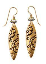 NEW! Laurel Burch EMMA Antiqued Gold Retired Flower Blossom Earrings