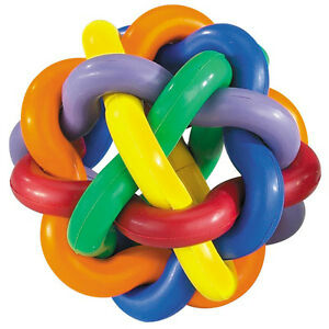 Hard Rubber Dog Toy Knobbly Colorful Wobbly Large 4 Inch Tough Toys for Big Dogs