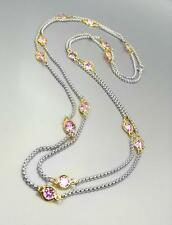 "GORGEOUS Silver Box Cable Chain Pink CZ Crystals 48"" Extra Long Necklace"