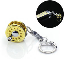 Cool Fly Fishing Reel Miniature Novelty Gift Charm diameter 25 mm Key ChainBILU-