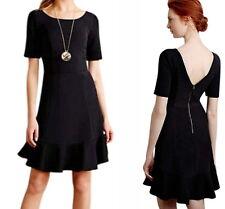 Anthropologie Marcelline Flounced Sheath Dress Petite 6 Medium Black Romantic 6P
