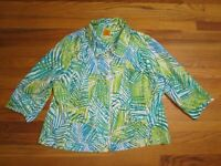 WOMEN'S GREEN PALM PRINT LINEN BLEND JACKET - RUBY RD - SIZE 2X