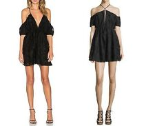 The Jetset Diaries black jacquard halter off shoulder Da Vinci Dress L NWT