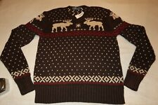 NWT Men Polo Ralph Lauren Nordic Moose V NECK  SZ XL LINEN COTTON BROWN VINTAGE