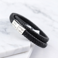 Tokyo Black Leather & Stainless Steel Mens Personalised Engraved Bracelet