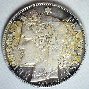 1870 K France Silver 5 Francs Coin Circulated You Grade Discolored Obverse