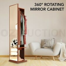 360° Rotating Mirror Storage Cabinet Free Standing Jewellery Armoire - Brown