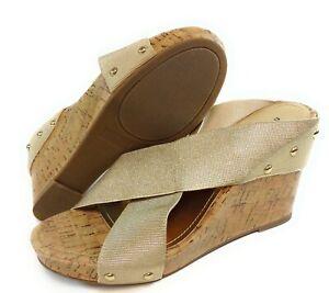 "Womens Steve Madden Nautic Gold Fabric Faux Cork 4"" Heels Madden Girl Shoes"