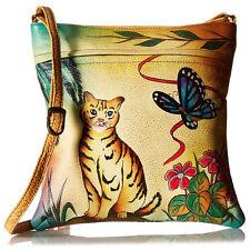 Anuschka Leathe Slim  Shoulder Cross Body Handbag Cat and Butterfly