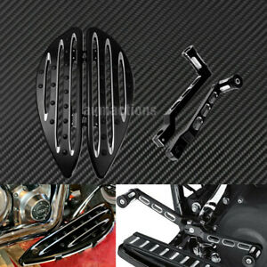 Black Front Driver Floorboards w/ Shifter Lever Pegs Fit For Harley Touring Dyna