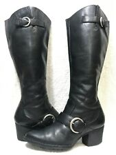 BORN Shaylee Black Leather Tall Buckle Riding Boots, 7 / 38