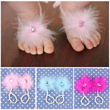 Lovely Baby Kids Foot Flower Feather Pearl Barefoot Toddler Beach Sandals Shoes